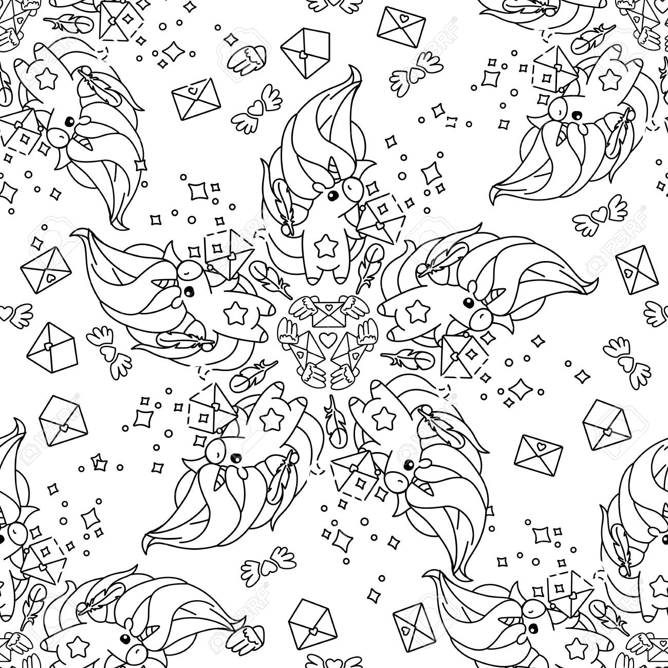Vector Rainbow Unicorn Pattern Coloring Book Page