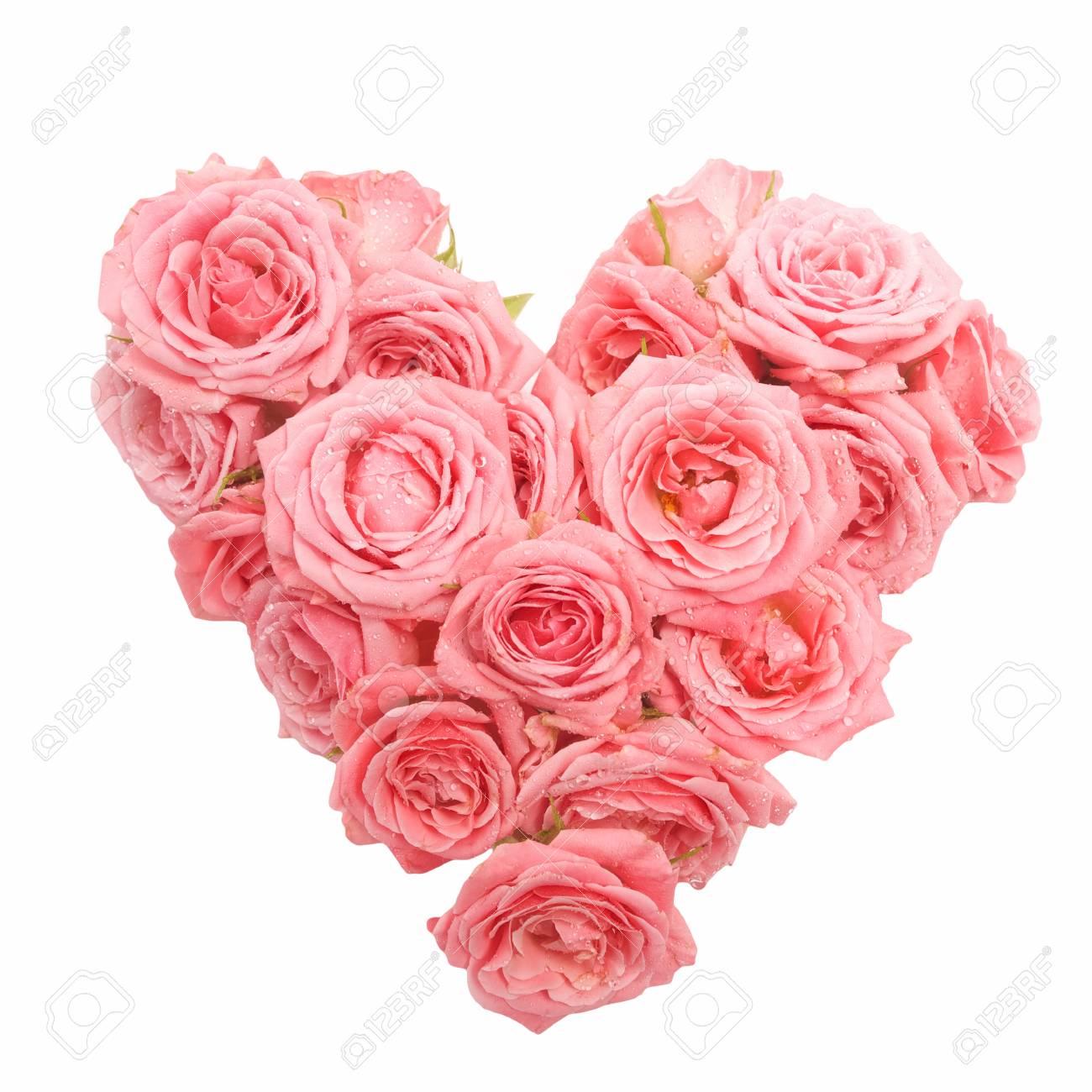 Bouquet De Roses En Forme De Coeur Isole Sur Fond Blanc Banque D