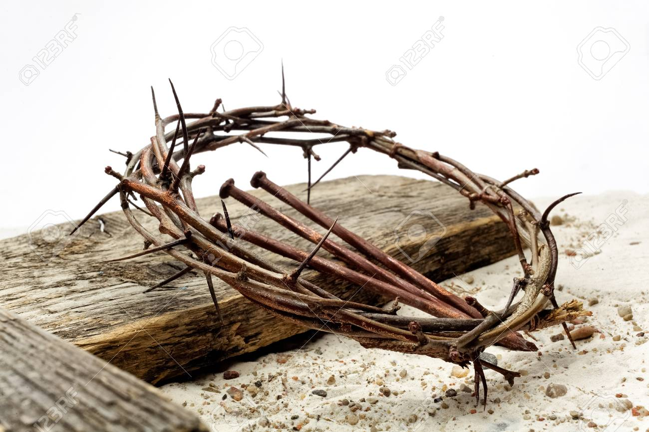 Jesus Crown Thorns and nails and cross on sand. Vintage Retro Style. - 120719088
