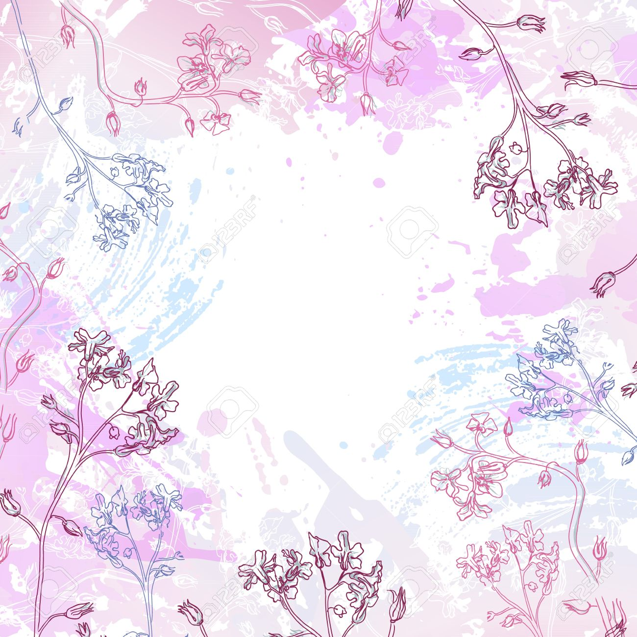 Vector frame of pink flowers and watercolor stains Stock Vector - 13605754