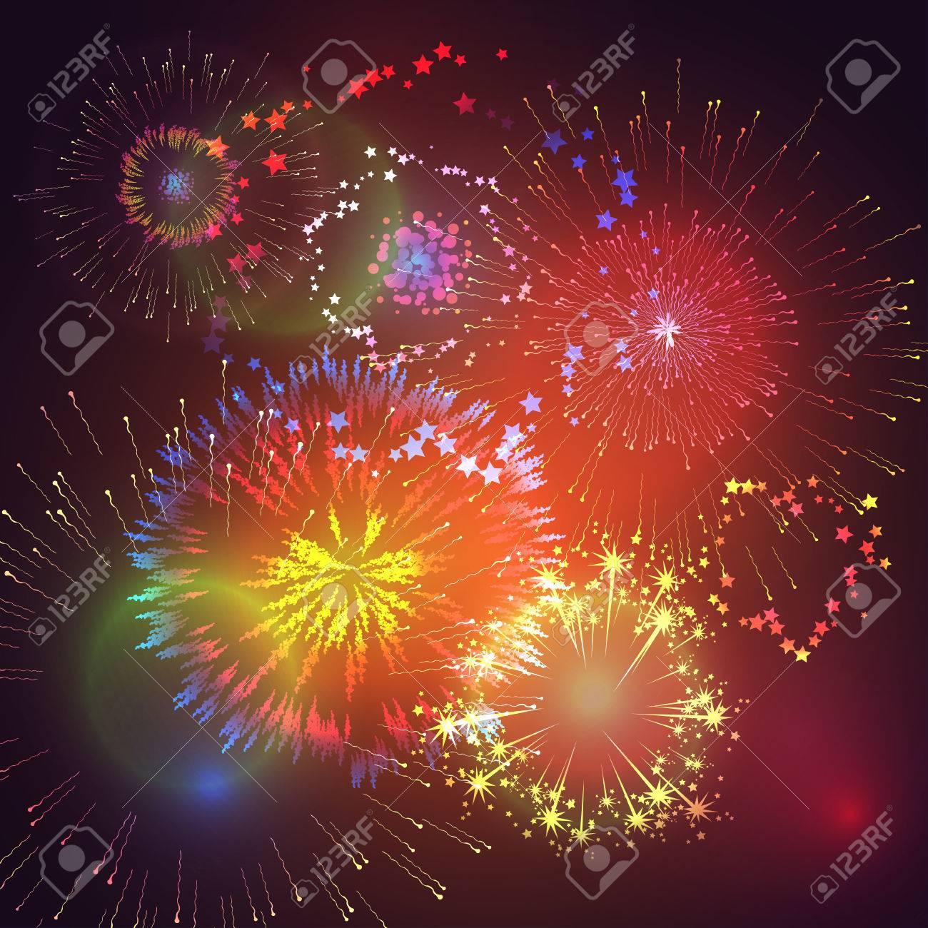 Ilustracion Del Vector Con Fuegos Artificiales De Colores Y Fuegos