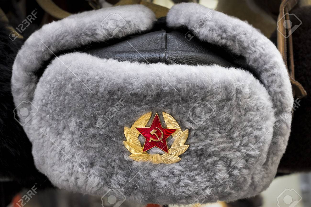 Grey Russian Soviet Red Army USSR winter fur hat called Ushanka Stock Photo  - 66291871 a103d43259e