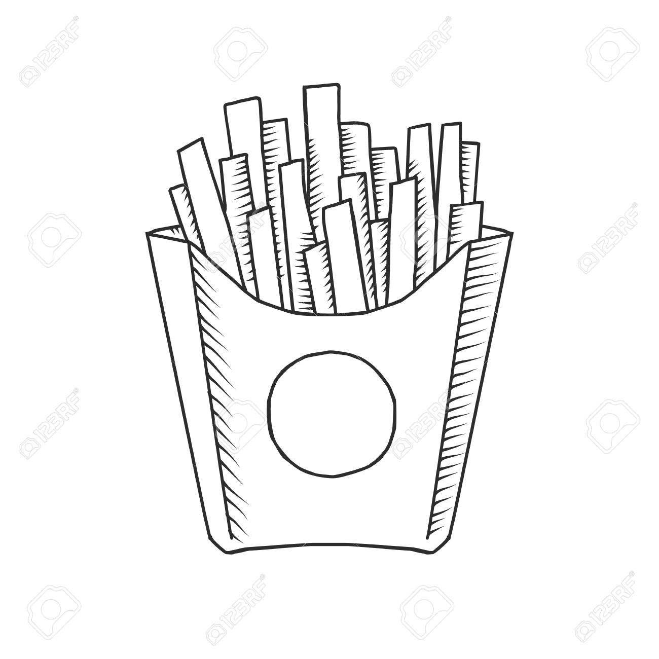 Vector Illustration Of An Isolated Cartoon Hand Drawn Fast Food