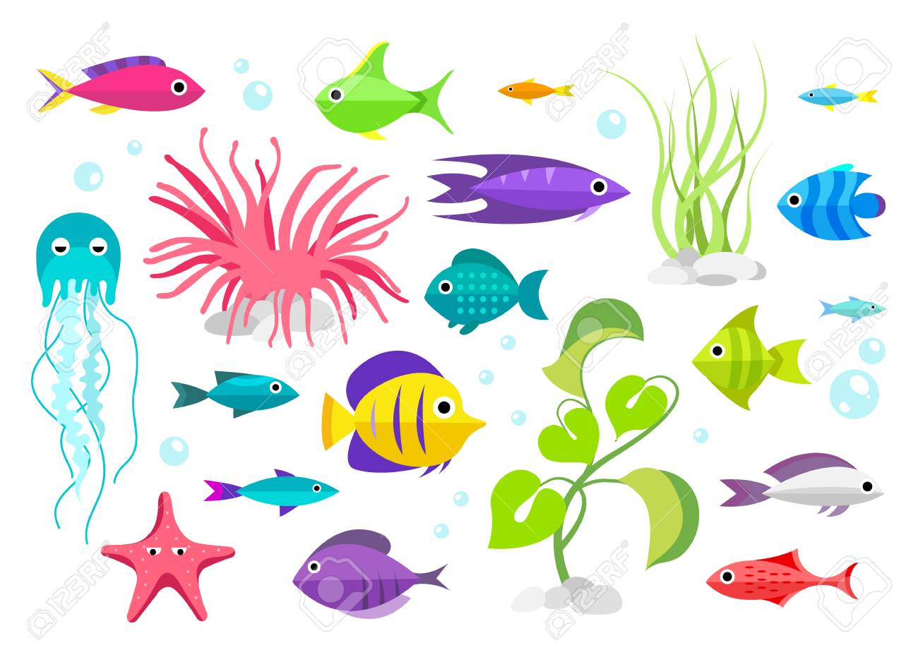 魚のコレクション漫画のスタイルアクアリウムの住民のイラストの