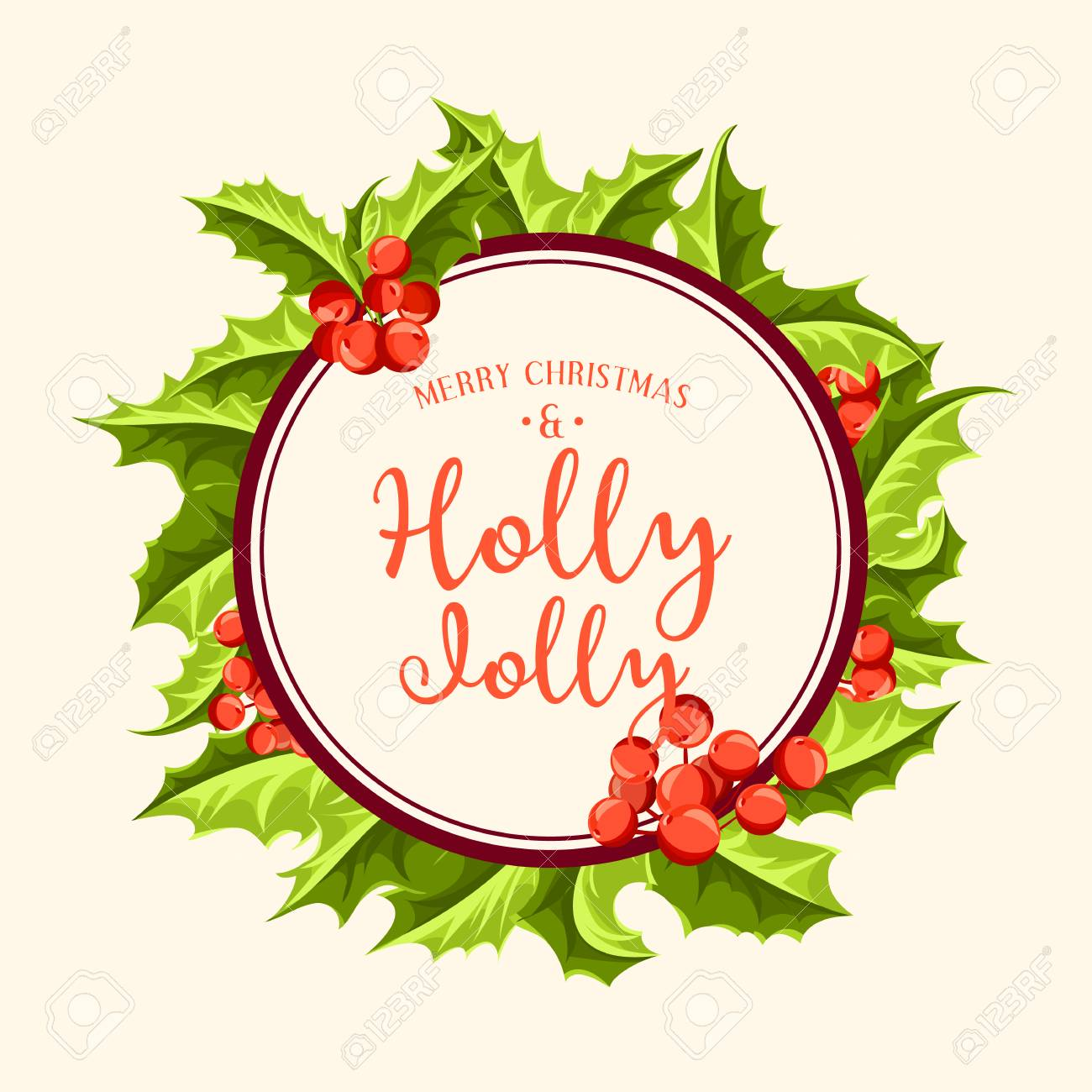 Holly Jolly - Christmas Background. Vector Art. Perfect Decoration ...