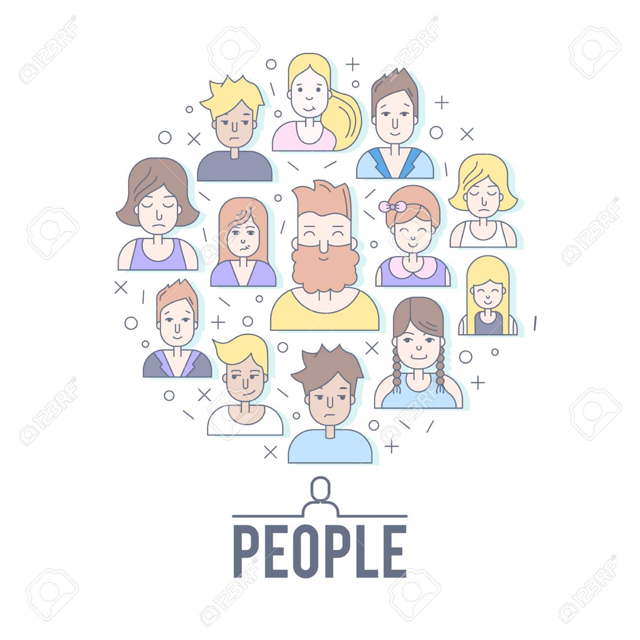 Linear Flat people faces vector illustration. - 72954197