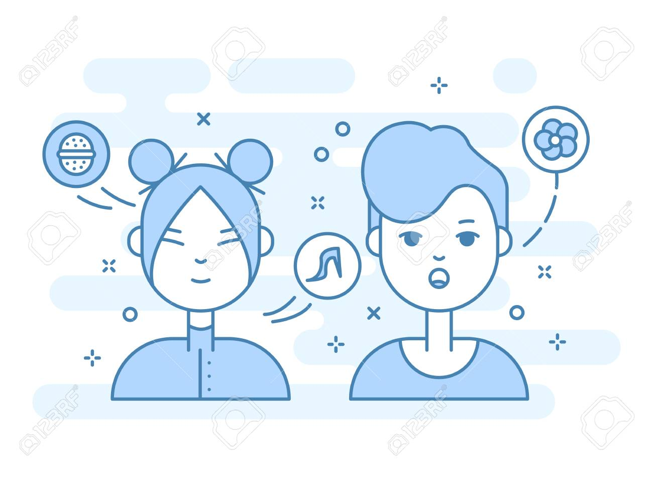 linear flat people faces vector illustration social media avatar