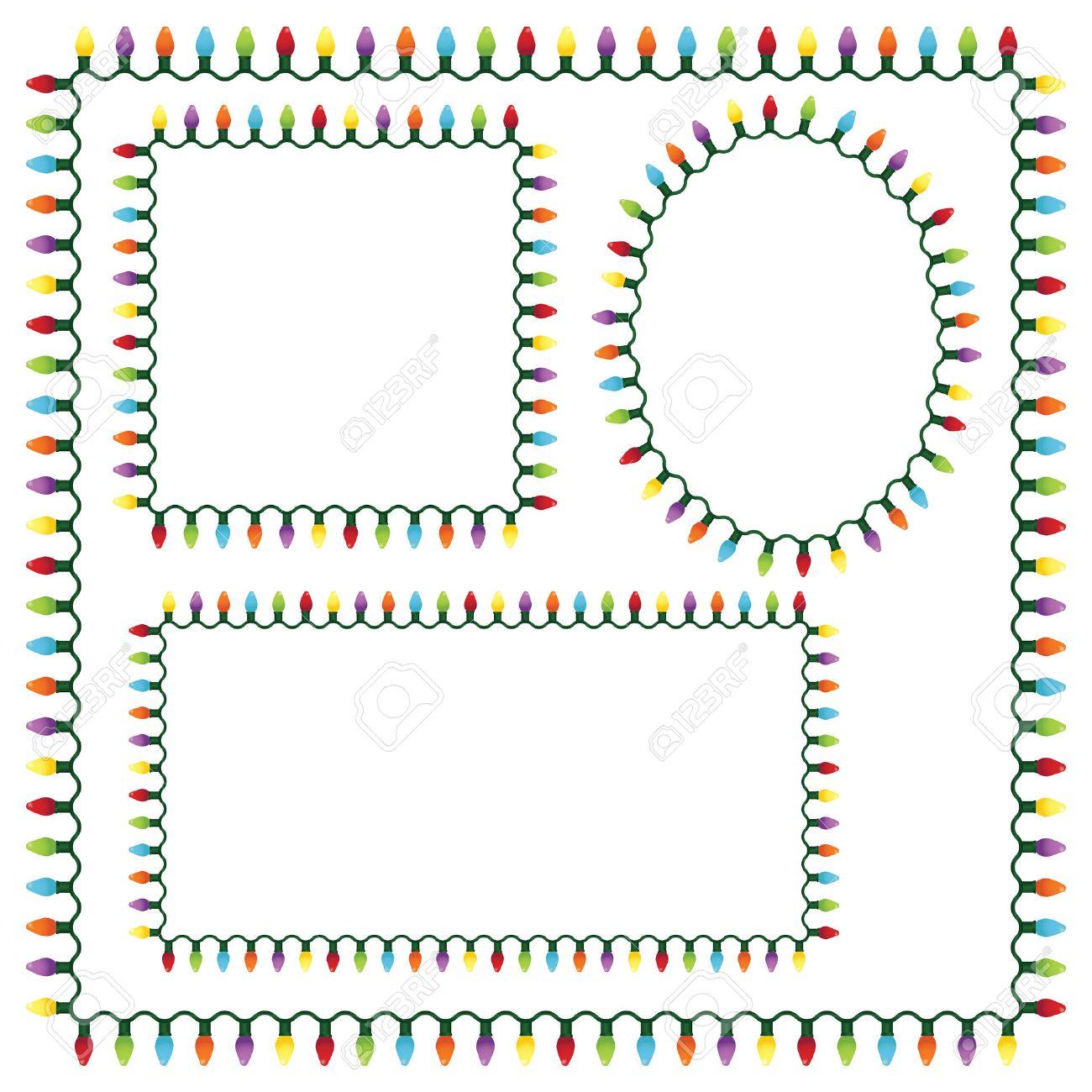 Christmas lights border - Set Of Christmas Lights Frames Stock Vector 5949461