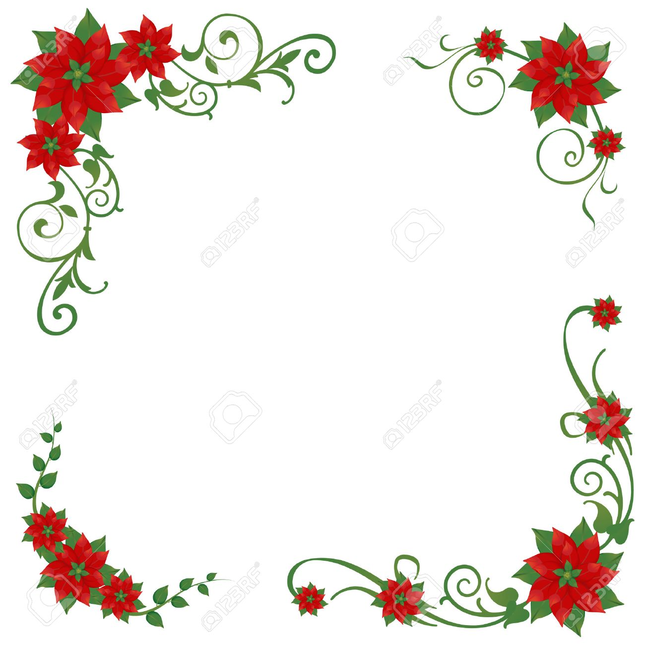 set of christmas poinsettia corner ornaments stock vector - Christmas Poinsettia