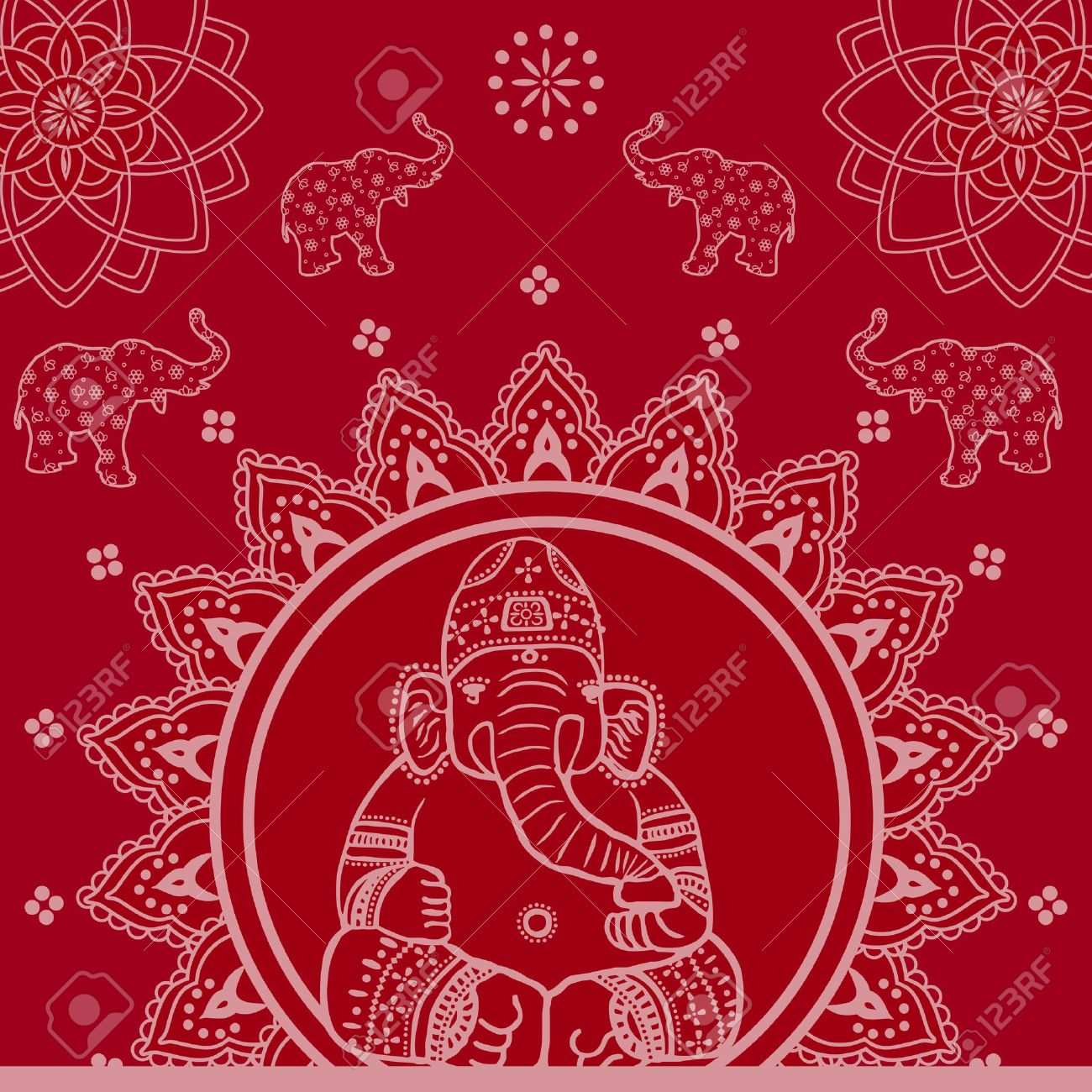 Red Traditional Indian Ganesh Mandala Background Stock Vector - 28128289