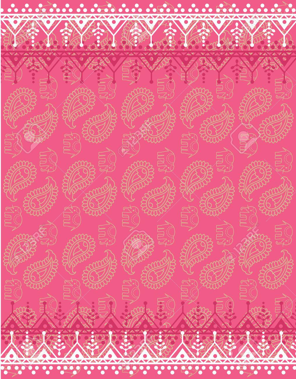 Pink Oriental Traditional Henna Paisley And Elephant Design