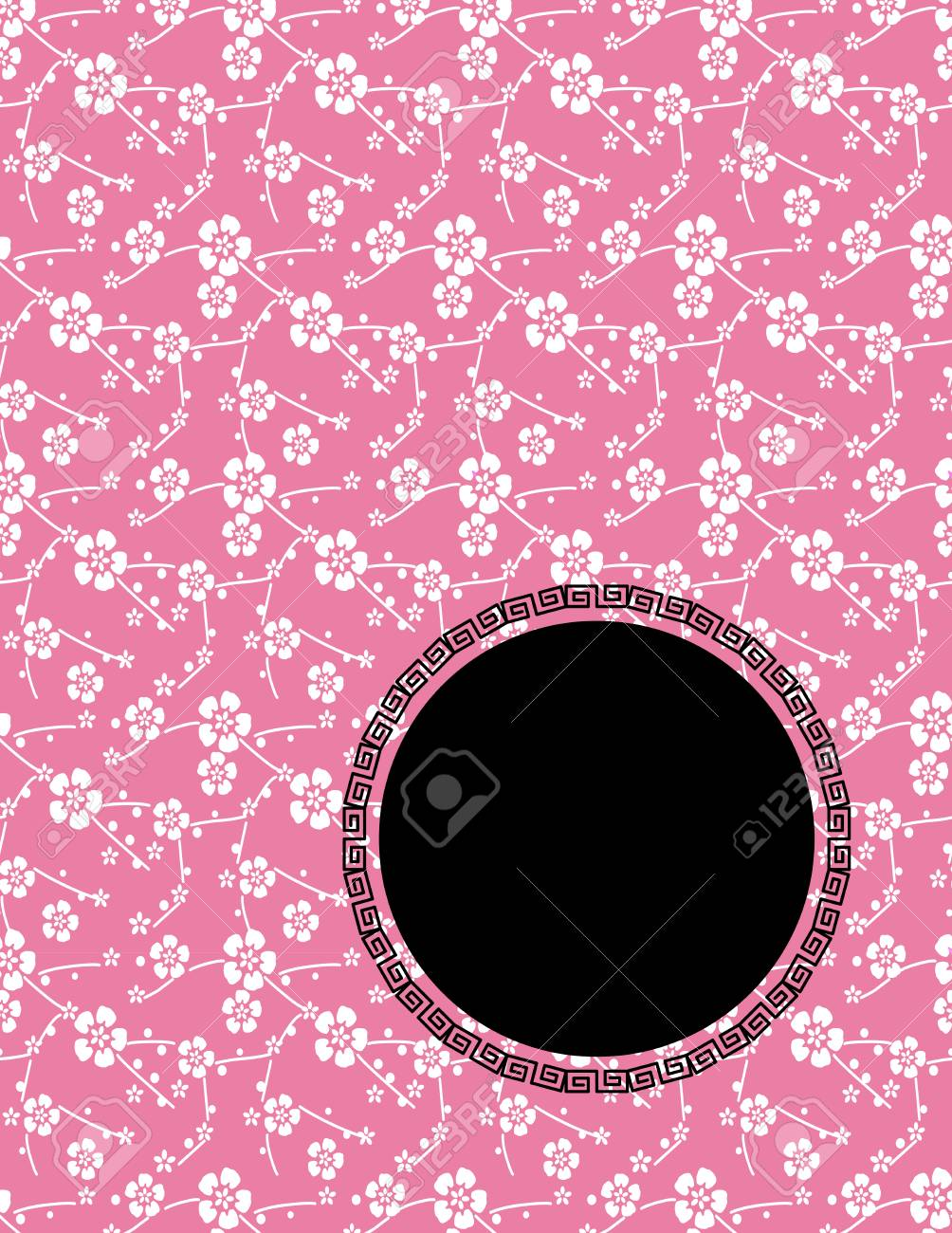 Fleur De Cerisier Couverture Traditionnelle Asiatique Rose De Livre De Conception Ou Un Depliant Avec Espace Pour Le Texte