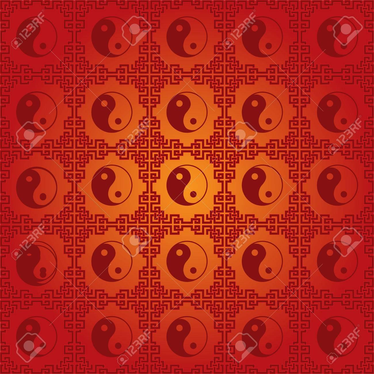 Traditional Chinese Yin Yang Symbol Seamless Wallpaper Stock Vector