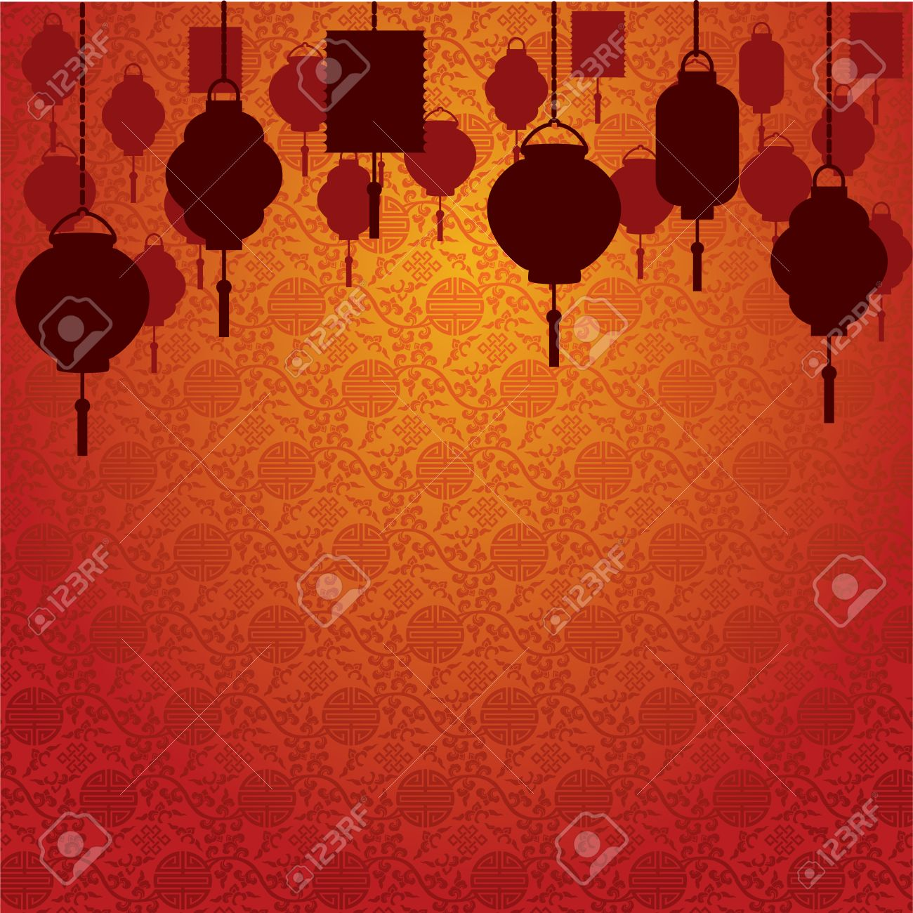 Chinese Lanterns On Traditional Wallpaper Background Stock Vector