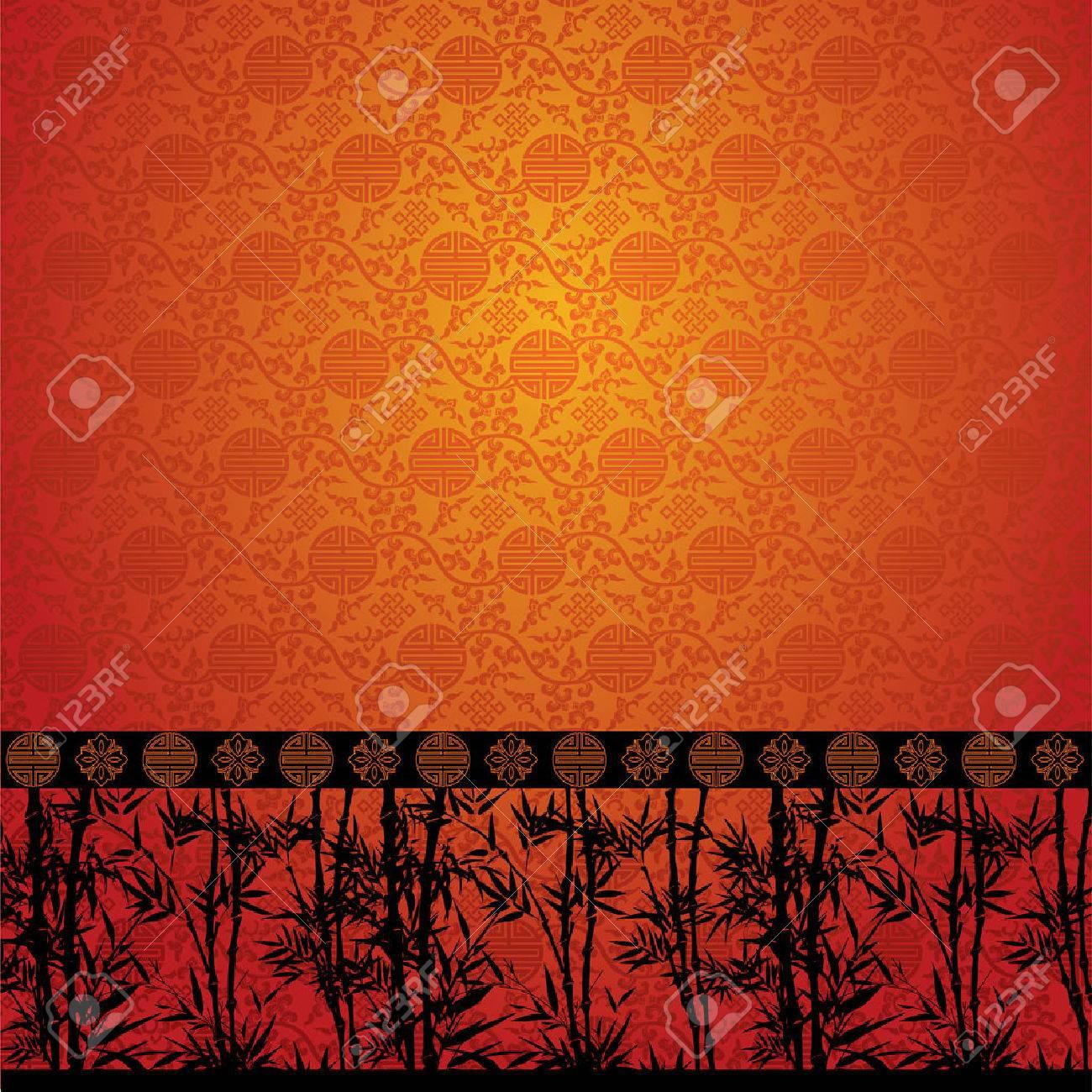 中国の伝統的な模様の壁紙に竹模様のイラスト素材 ベクタ Image