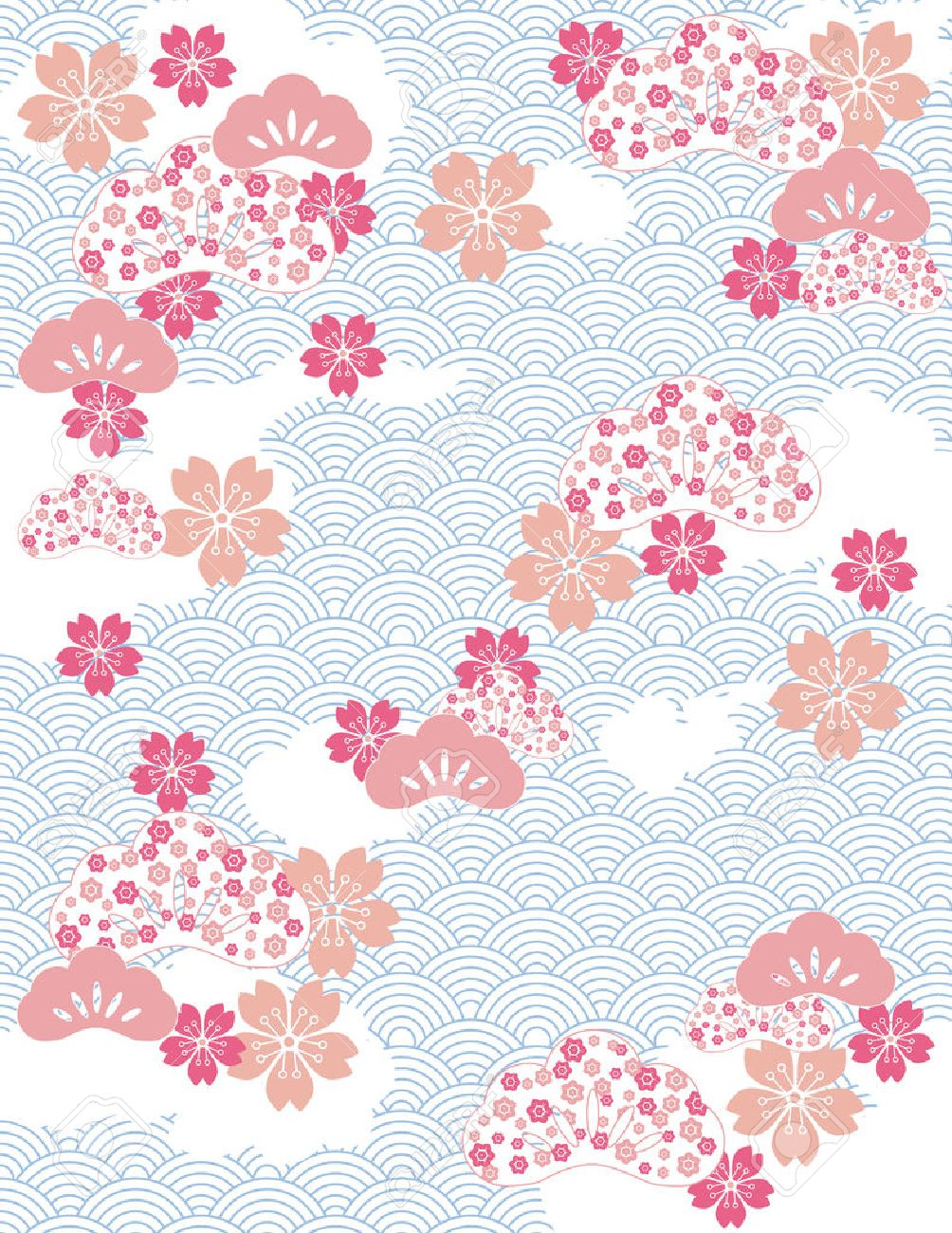 Japanese background with wave pattern and cherry blossom flowers japanese background with wave pattern and cherry blossom flowers stock vector 34317359 mightylinksfo