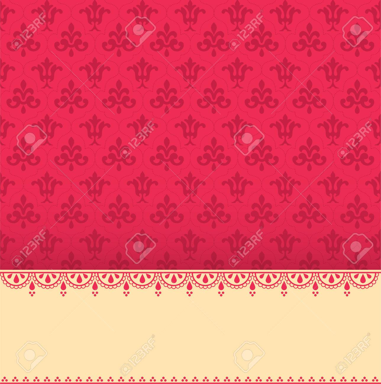 Vintage Pink Wallpaper With Henna Banner And Space For Text Royalty