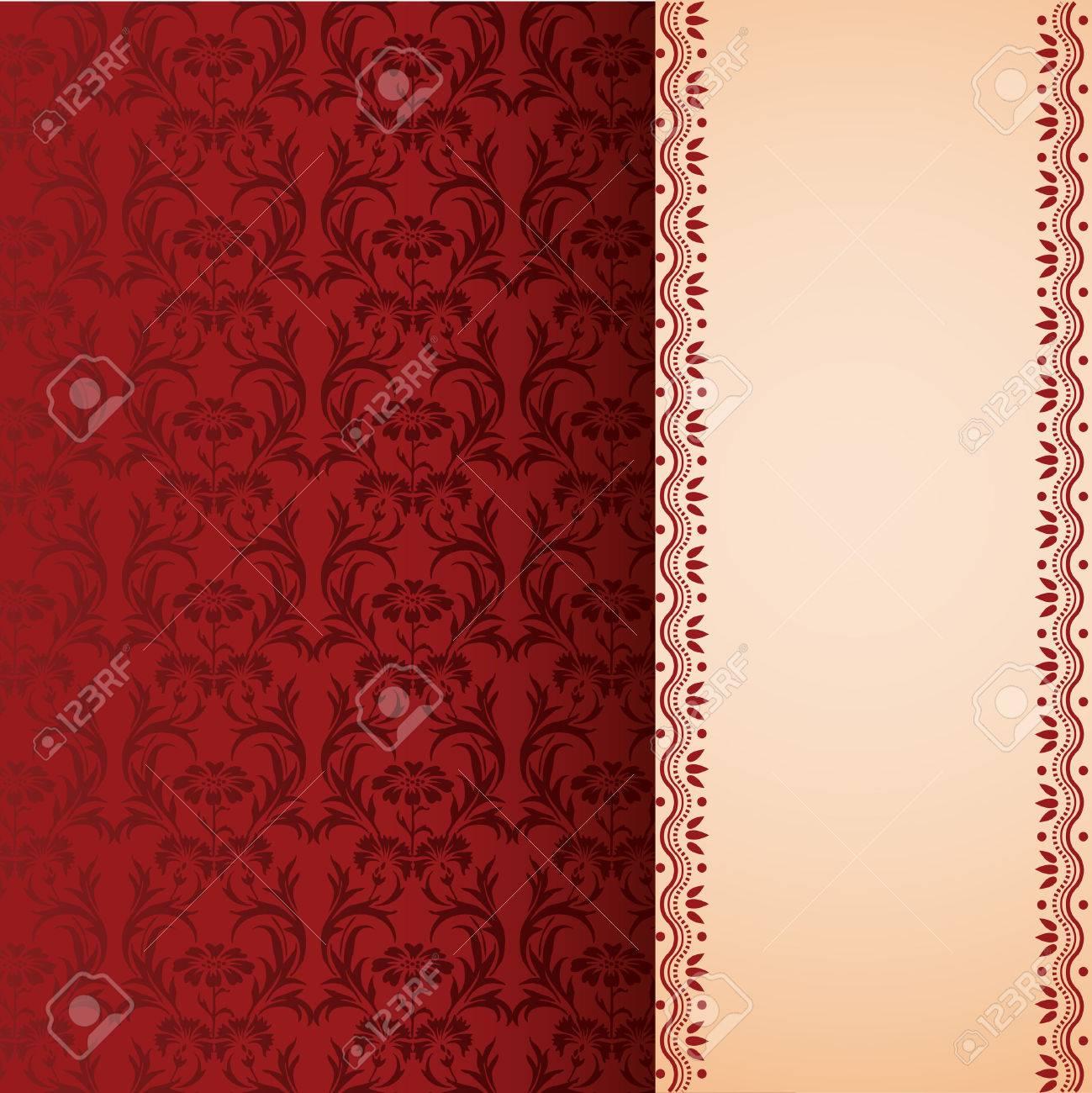 Vintage Papier Peint Rouge Motif Floral Avec Du Henne Banniere