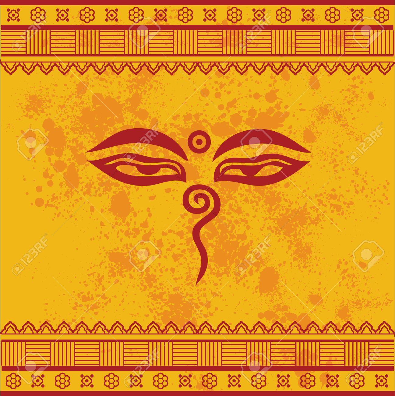 Traditional buddha eyes symbol on yellow textured background traditional buddha eyes symbol on yellow textured background with henna design borders stock vector 35448534 biocorpaavc Images