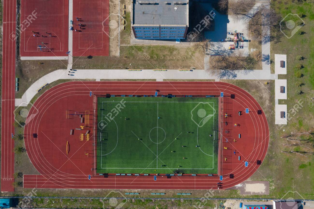 Street Sports Field With A Football Field Shooting From The Stock Photo Picture And Royalty Free Image Image 120949525
