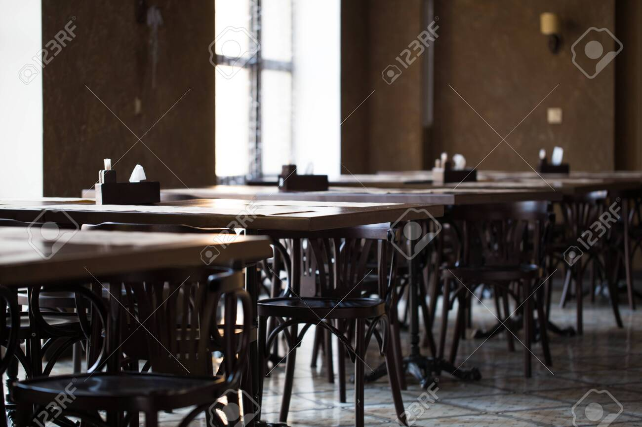 Vintage Room Cafe Or Restaurant Tables Opposite The Window Stock Photo Picture And Royalty Free Image Image 124135746