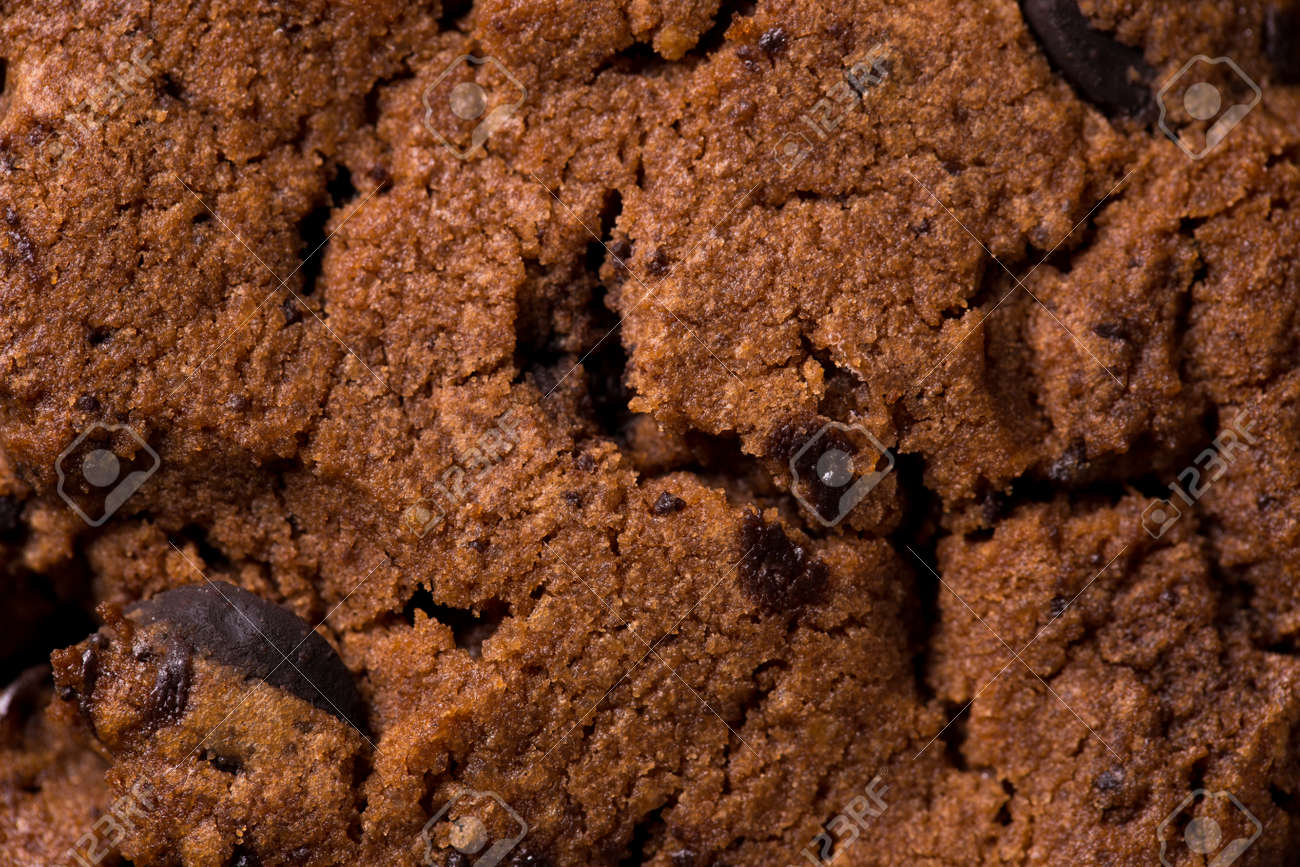 The texture of chocolate chip cookies. Macro close up. - 171847347