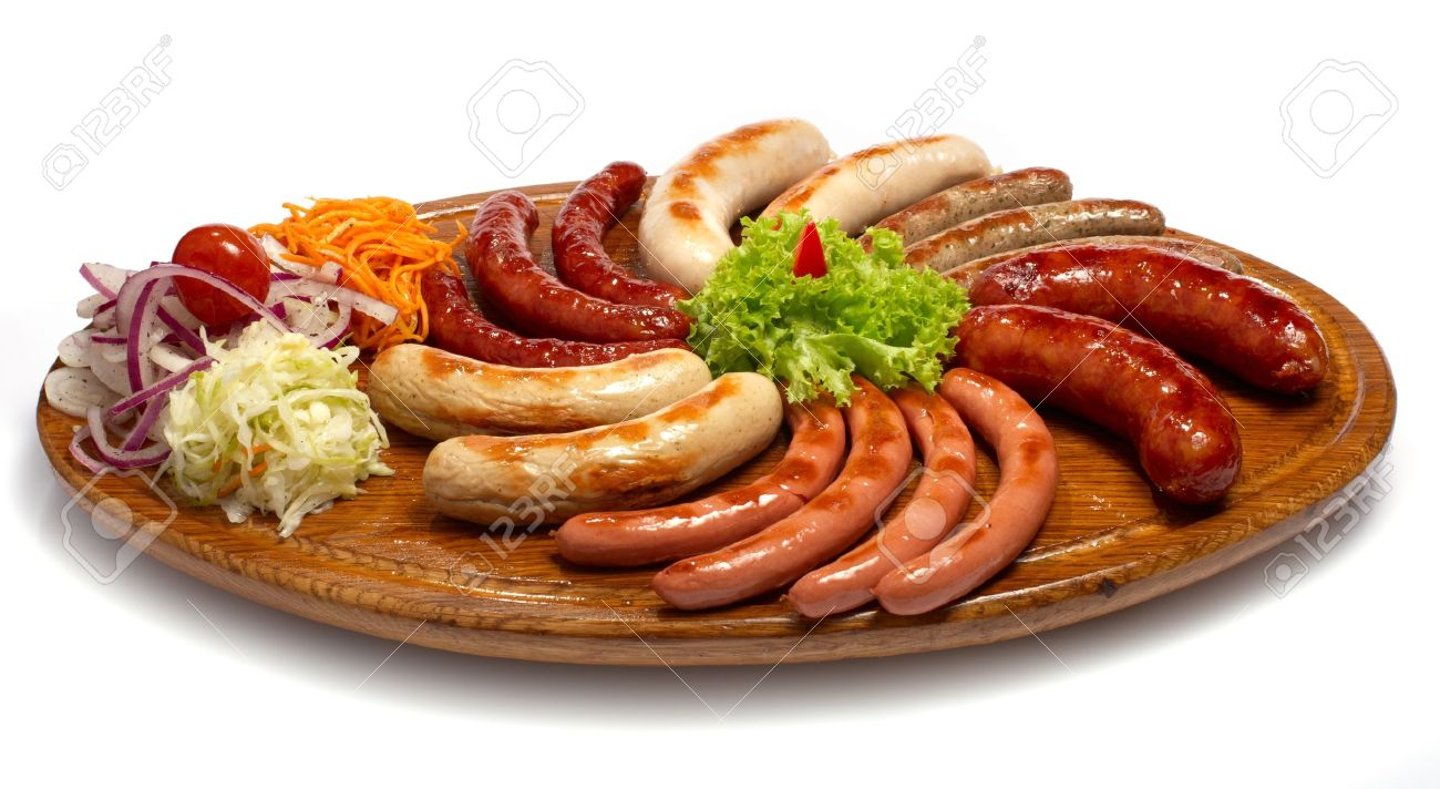 a set of different sausages grilled on wooden plate Stock Photo - 12578631  sc 1 st  123RF.com & A Set Of Different Sausages Grilled On Wooden Plate Stock Photo ...