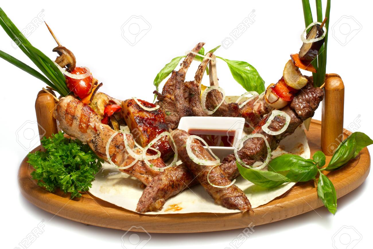 set of roasted meat on the grill Stock Photo - 12578622
