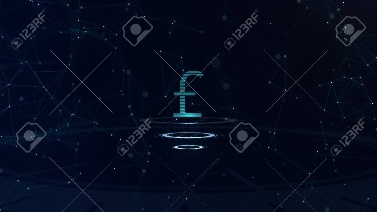 Space blue Currency sign. Britain Pound Sterling. International currency. - 120554234