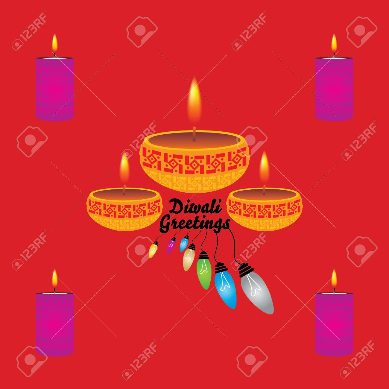 Diwali Greeting Concept With Lamp Royalty Free Cliparts Vectors