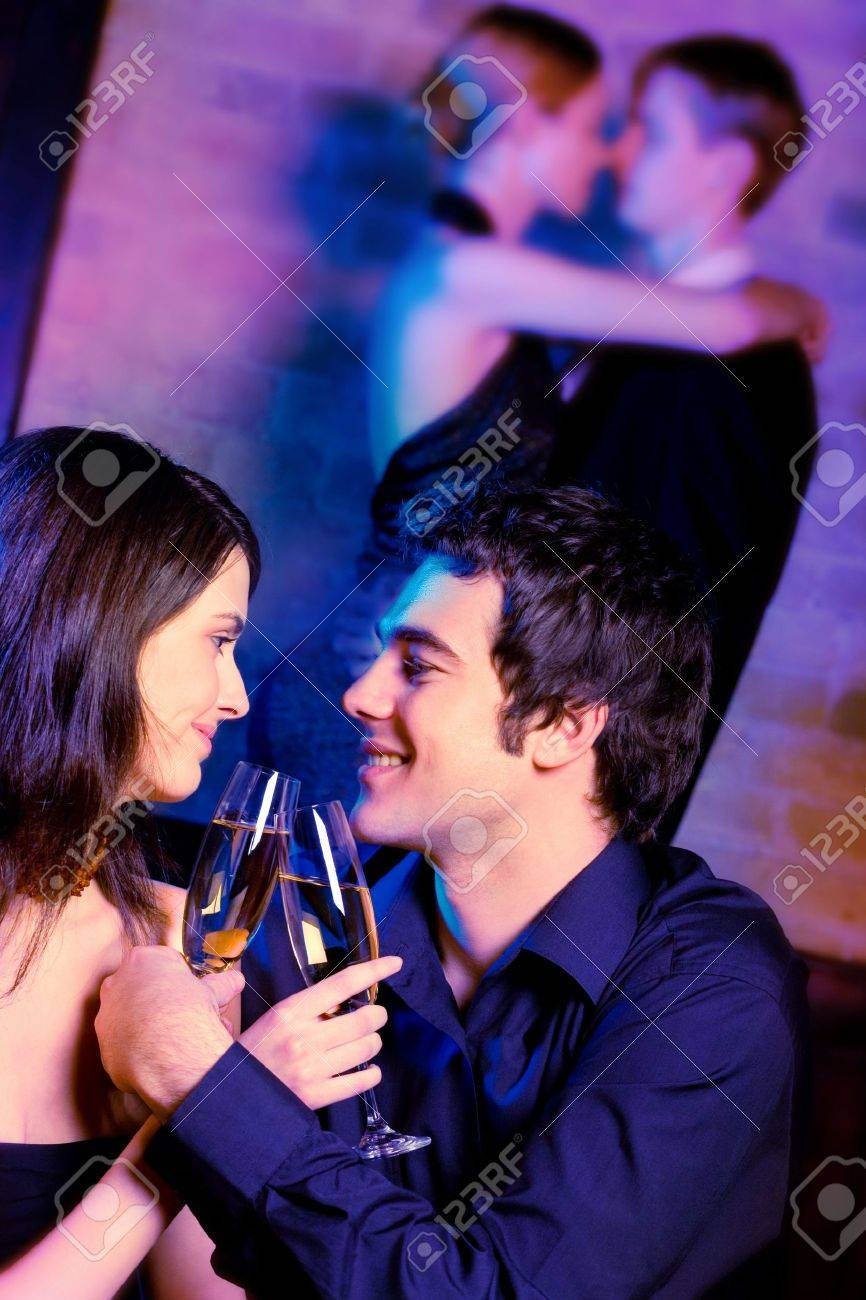 Two young attractive happy couples at celebration or night party Stock Photo - 944255