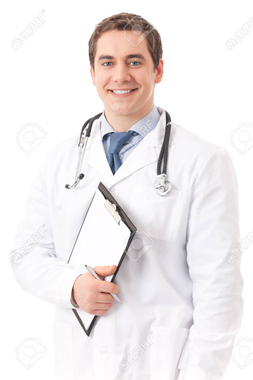 Happy doctor with stethoscope and clipboard, isolated Stock Photo - 4583062