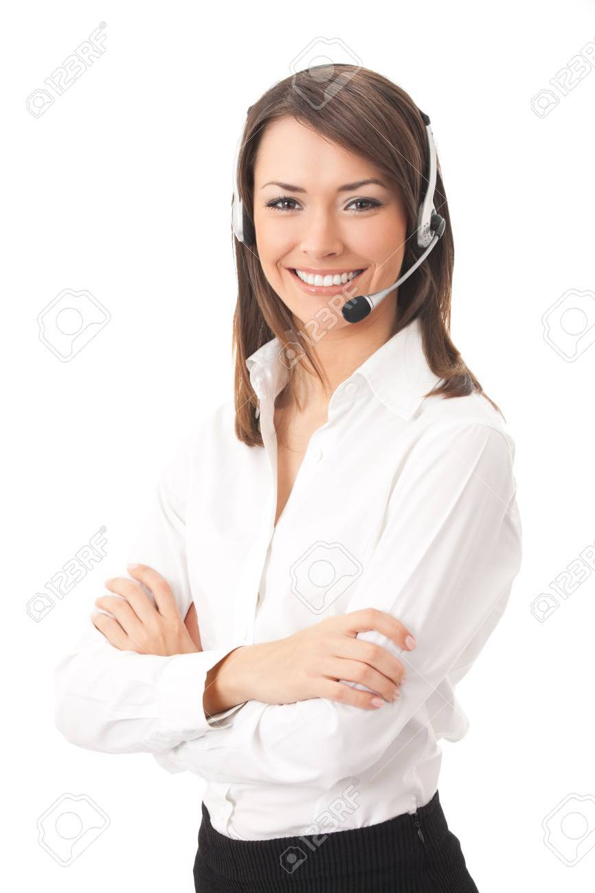 Support phone operator in headset, isolated on white Stock Photo - 4920131