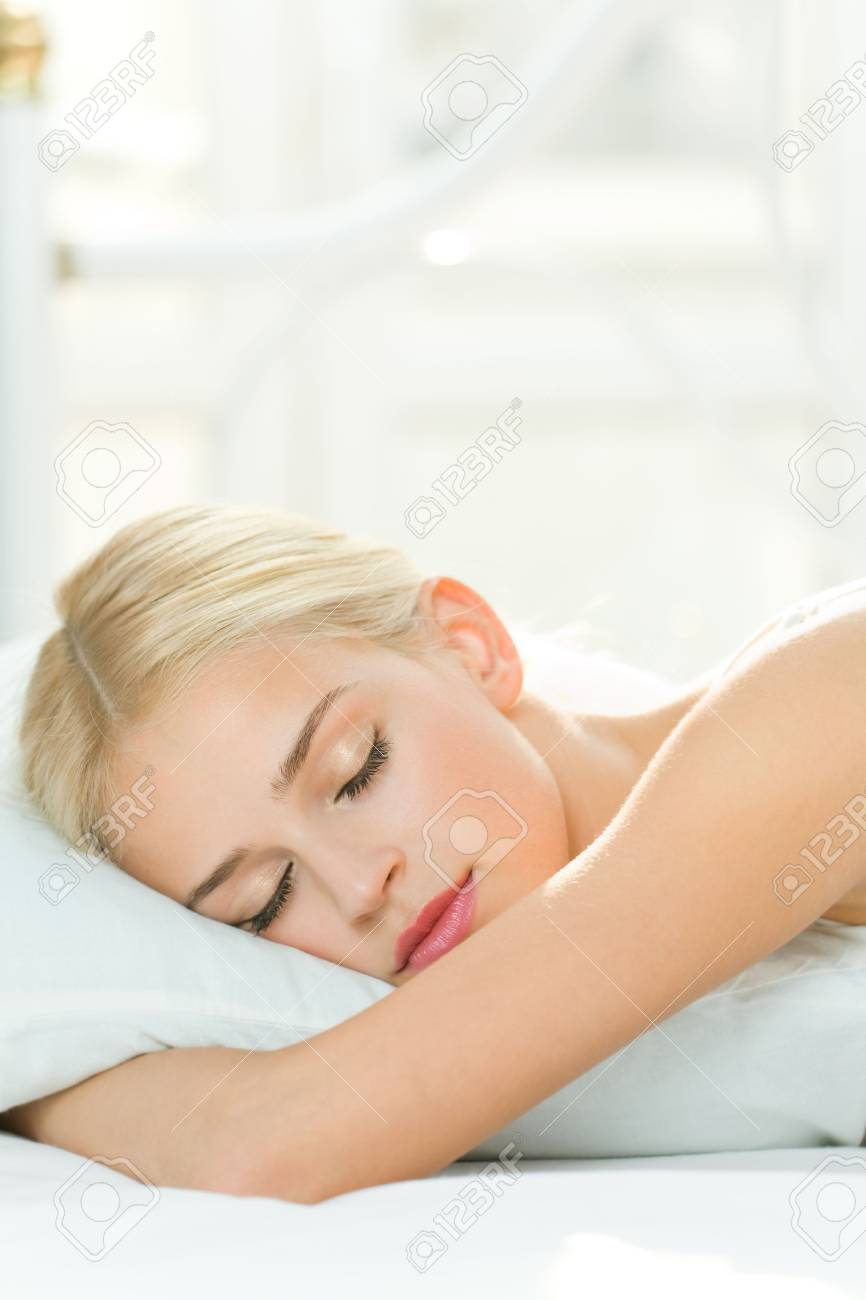 Photo of sleeping young woman at home Stock Photo - 4983281