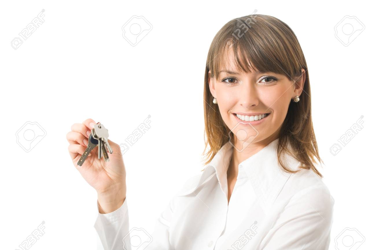 Portrait of businesswoman with keys, isolated on white Stock Photo - 5530512