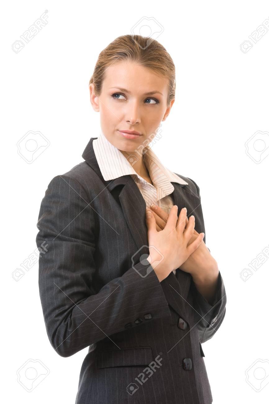 Portrait of the sad businesswoman, isolated on white Stock Photo - 6517896