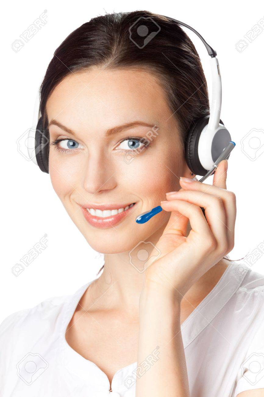 Support phone operator in headset, isolated on white Stock Photo - 7486550