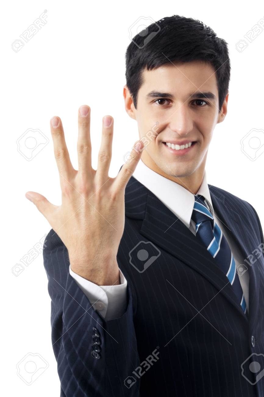 Happy businessman showing five fingers, isolated on white Stock Photo - 7582112