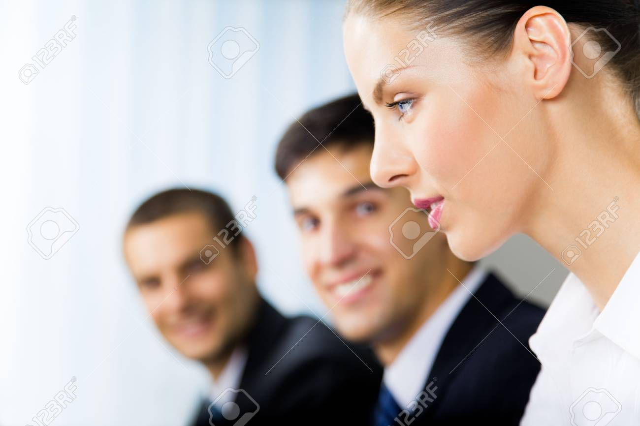 Portrait of successful businesswoman and colleagues on background, at office Stock Photo - 7875253