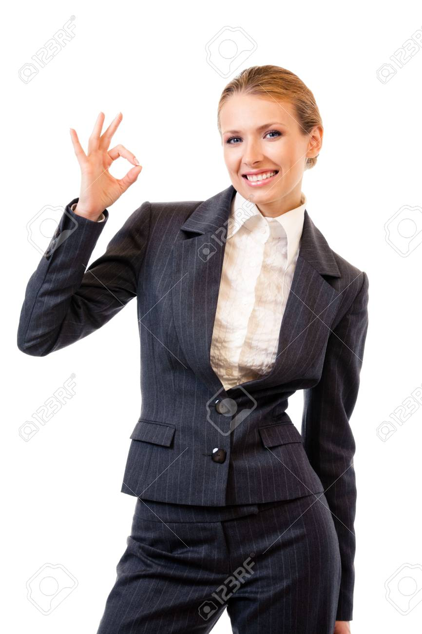 Businesswoman with okay gesture, isolated on white Stock Photo - 7875316