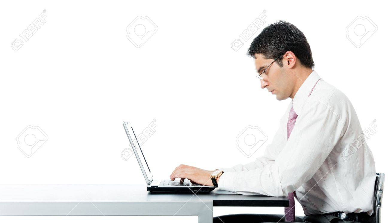 Successful happy smiling businessman working with laptop at workplace, isolated on white background. To provide maximum quality, I have made this image by combination of two photos. Stock Photo - 8156360