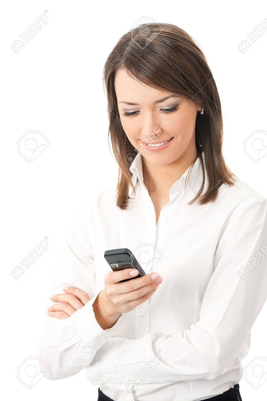 Happy smiling successful businesswoman with cell phone, isolated on white background Stock Photo - 8265951