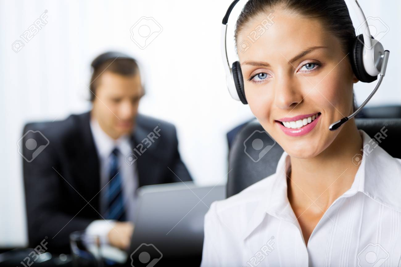 Two support phone operators at workplace Stock Photo - 8773373