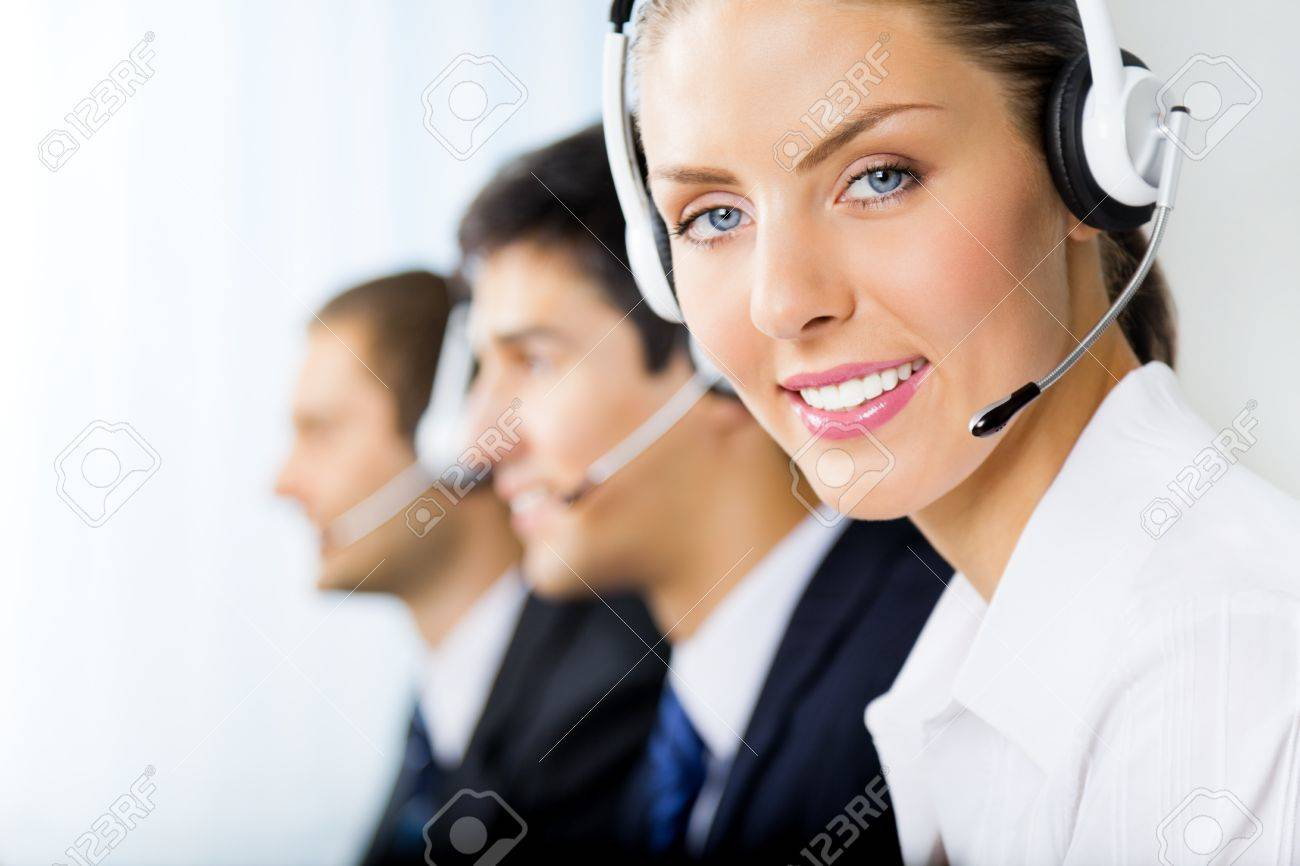 Three support phone operators at workplace Stock Photo - 8773364