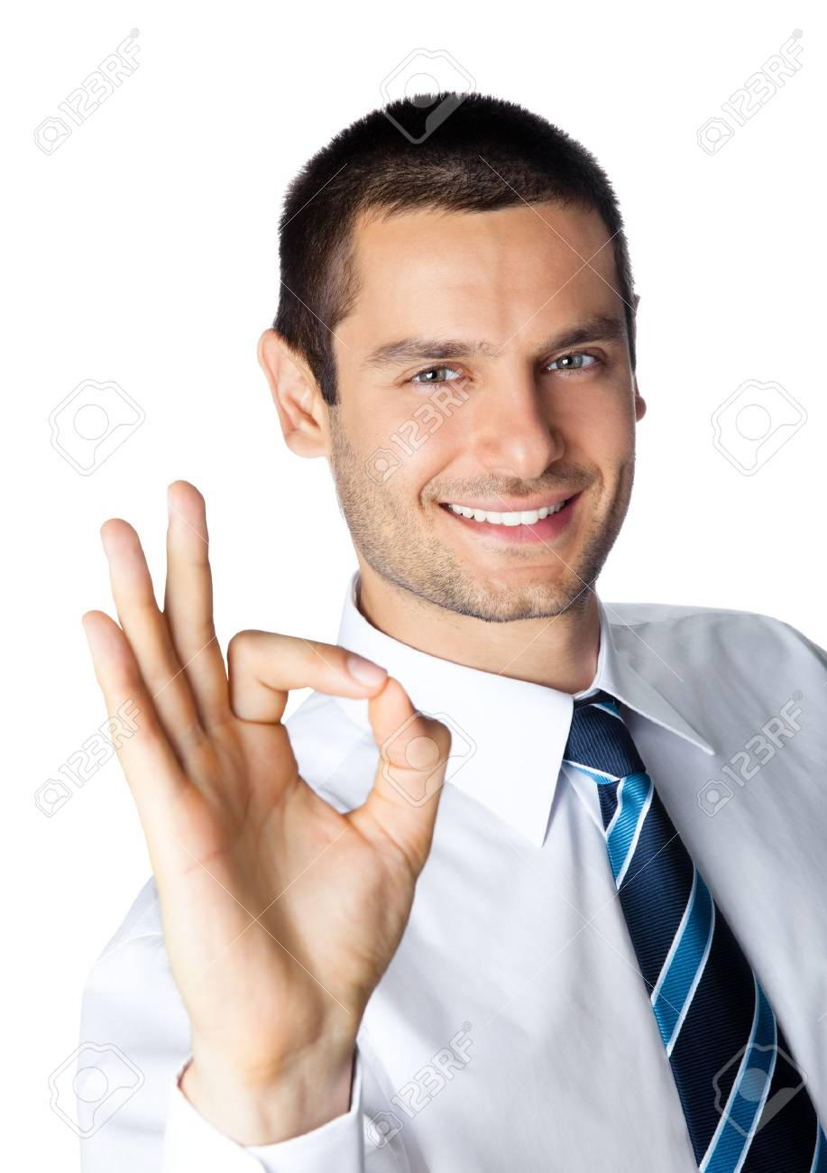 Happy smiling young businessman with okay gesture, isolated on white background Stock Photo - 8876686