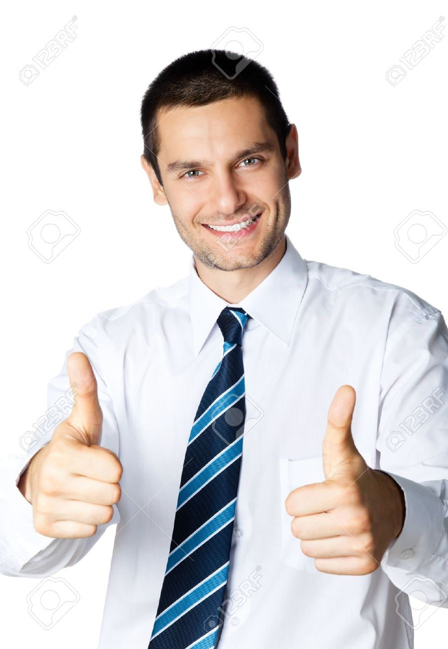 Happy smiling businessman with thumbs up gesture, isolated on white background Stock Photo - 8876678