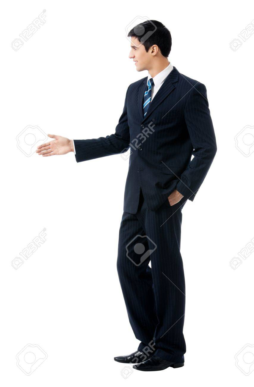 Full body portrait of young business man giving hand for handshake, isolated on white background Stock Photo - 9450883
