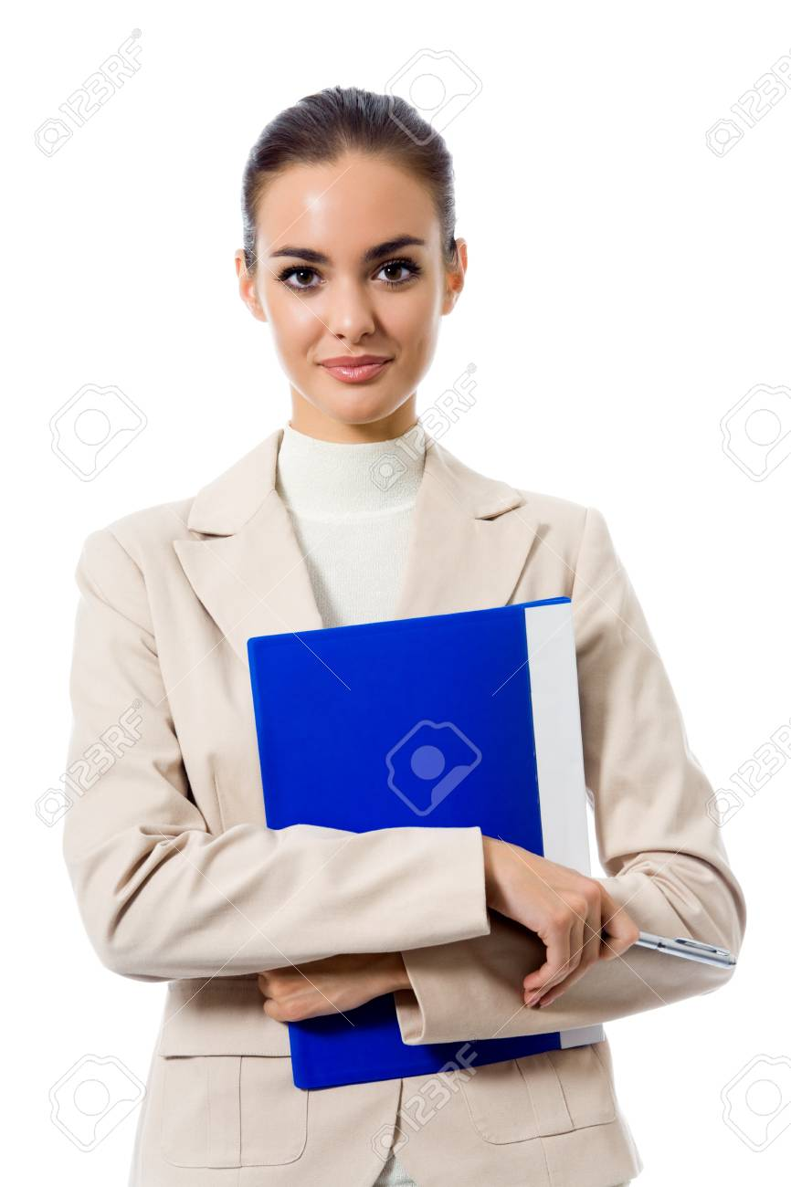 Portrait of young happy smiling businesswoman with blue folder, isolated on white background Stock Photo - 9578874