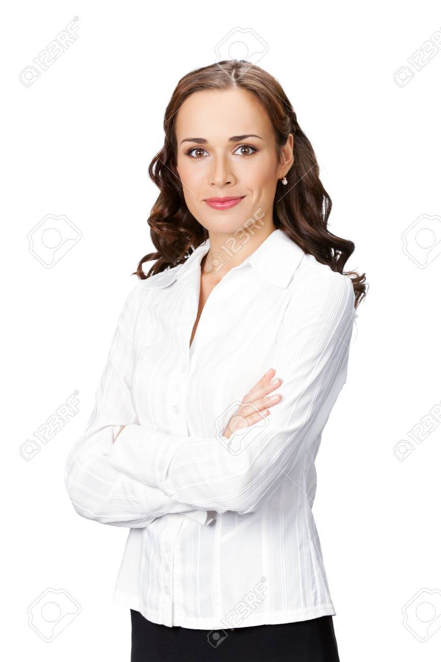 Portrait of happy smiling business woman, isolated on white background Stock Photo - 9895478