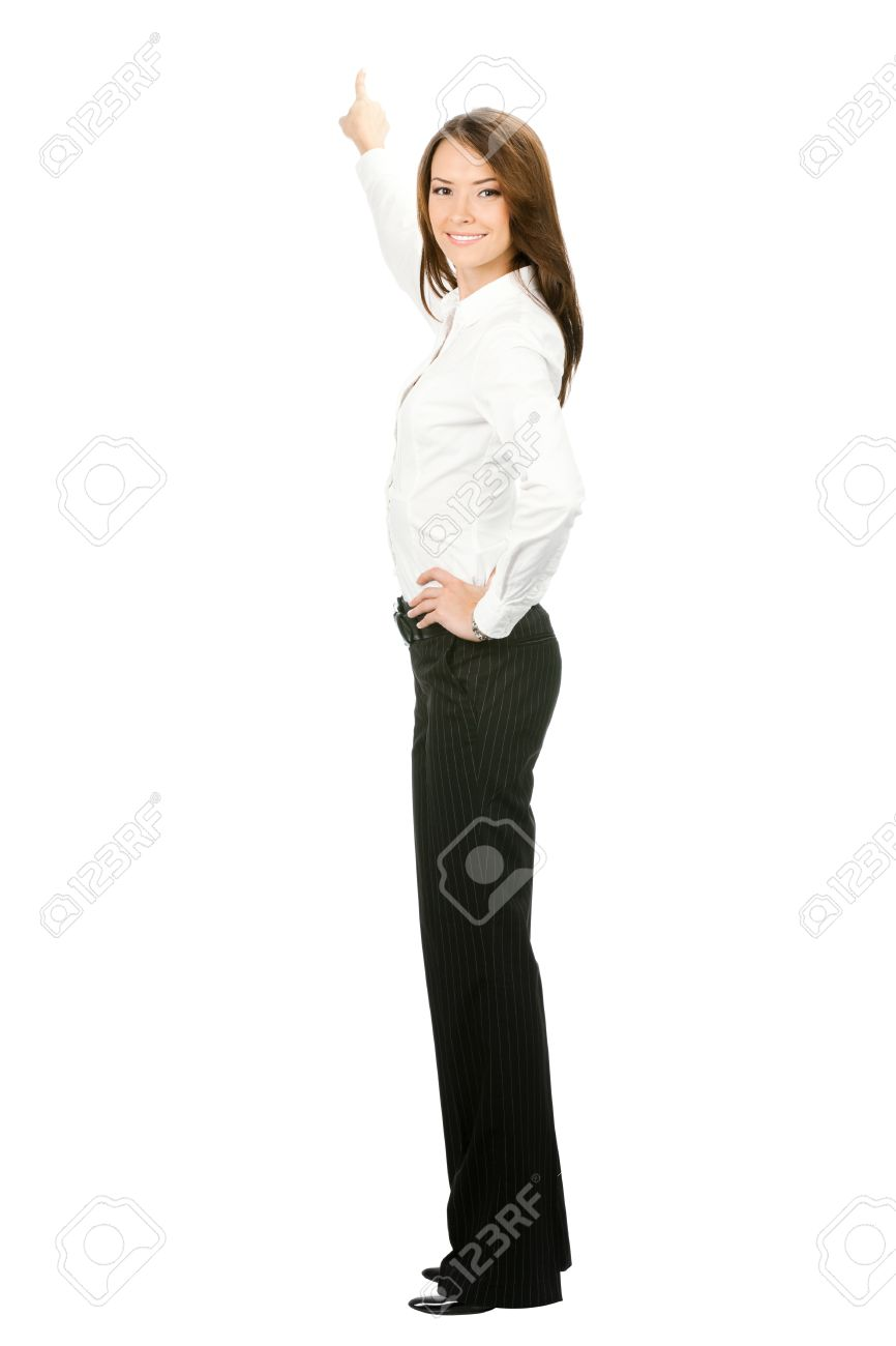 Full body of young business woman pointing at something in her back, isolated on white background Stock Photo - 10024919
